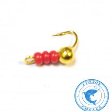 Мормышка Народная Дробинка Золот и красный бисер 3мм 0,24гр. 30-855